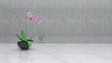 Orchid Flower On The Marble Background, Photorealistic 3D Illustration Of The Interior, Suitable For Using In Photo Manipulations Or As A Zoom Virtual Background.