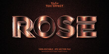 Rose Gold Text Effect, Shiny Rose Gold Alphabet Style