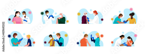 Сovid-19 mass vaccination. Set of people of different age, race, gender receiving vaccine. Doctors and nurses with syringe in hand. Kids vaccination. Vector spot illustrations. - fototapety na wymiar