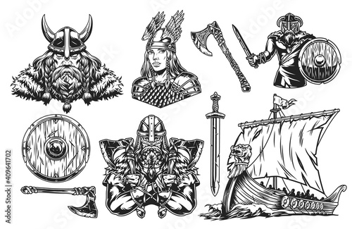 Vikings vintage elements set © DGIM studio