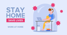 Self-isolation Concept. Remote Work Online In Quarantine. A Call To Stay Home And Keep Life. The Man Works At Home Under The Dome To Protect Himself From The Virus. It Can Be Used In Web Banner.