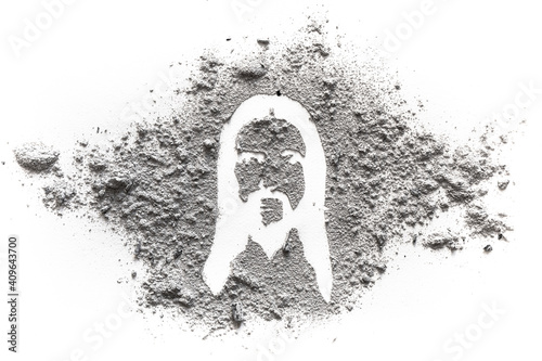 Stampa su Tela Face and head silhouette drawing of jesus Christ made in ash or dust as Ash wedn