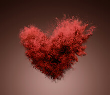 Amazing Explosion Of Red Powder In Heart Shape