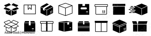 Set box express icons, delivery logo, shopping sign, collection simple flat carton box icon - stock vector - fototapety na wymiar