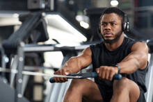 Handsome Sportsman Training Body On Modern Rowing Exerciser In Gym
