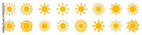 Obraz Set sun icons sign, solar isolated icon, sunshine, sunset collection, summer, sunlight – stock vector - fototapety do salonu