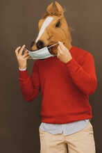 Horse Man Putting On A Mask To Protect Himself From Covid