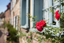 Gerberoy And Red Roses. Old Village In France, Half-timbered Houses, Known For Roses, Listed In The Plus Beaux Villages De France (Most Beautiful French Villages). Gerberoy, Oise, France.