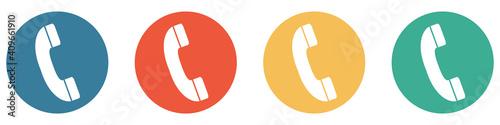 Obraz Bunter Banner mit 4 Buttons: Telefon Hotline - fototapety do salonu
