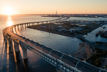 High-speed Toll Road, Highway Bypassing The City Center St. Petersburg, The Central Section Of The Western High-speed Section. A Beautiful View Of The Sunset Over The Gulf Of Finland
