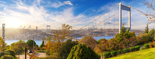 Fotografia The Second Bosphorus Bridge or Fatih Sultan Mehmet Bridge, Istanbul