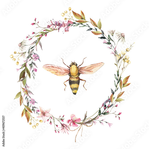 Fototapeta Watercolor bee illustration. Vintage wildflowers wreath.