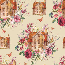 Floral House Watercolor Vintage Seamless Pattern. Sweet Home, Cozy Cottage Floral Texture