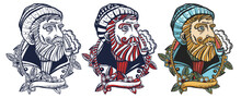 Sea Wolf Portrait, Sailor Man. Old Captain Smokes A Pipe. Bearded Seaman. Old School Tattoo Vector Art. Hand Drawn Cartoon Character Set. Isolated On White. Traditional Tattooing Style