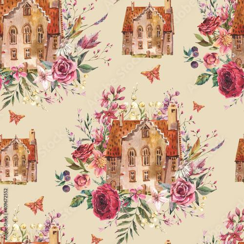 Tapety Angielskie  kwiatowy-dom-akwarela-vintage-wzor-slodki-dom-przytulny-domek-kwiatowy-tekstury