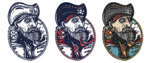 Old Pirate Portrait. Elderly Sea Captain Smoking Pipe. Old School Tattoo Vector Art. Hand Drawn Cartoon Character Set. Isolated On White. Traditional Tattooing Style