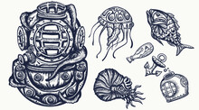 Scuba Diver Helmet, Jellyfish. Deep Water Diving Elements. Old School Tattoo Vector Art. Hand Drawn Cartoon Character Set. Isolated On White. Underwater Sea Life. Traditional Tattooing Style