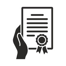 Certificate Icon. Hand Holding Certificate. Achievement, Award, Grant, Diploma. Vector Icon Isolated On White Background.