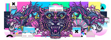 Dragons And Tiger Head. Vaporwave Music Art. Contemporary Glitch Concept. Surreal Retrofuturistic Vector Illustration. 80s And 90s Internet Lifestyle, Pop Culture Style. China And Japan Animals