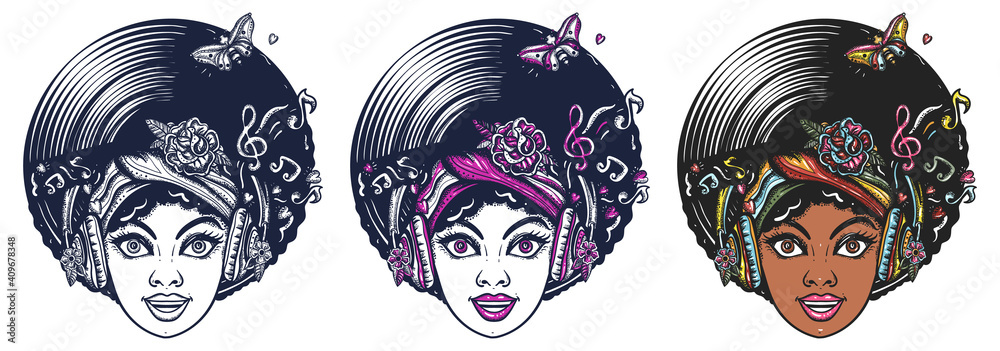 Fototapeta Funk music girl. African woman face with afro hairstyle, portrait. Hippie people. Old school tattoo vector art. Hand drawn cartoon character set. Isolated on white. Traditional tattooing style