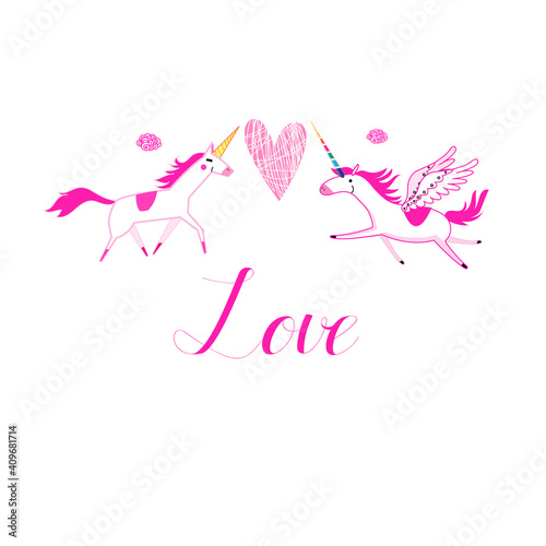 Love unicorns on a white background with a heart © tanor27