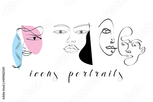 Set of creative templates in trendy style with one line face portrait © tanor27