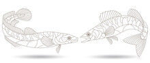 A Set Of Contour Illustrations In A Stained Glass Style With Abstract Fish, Dark Contours Isolated On A White Background