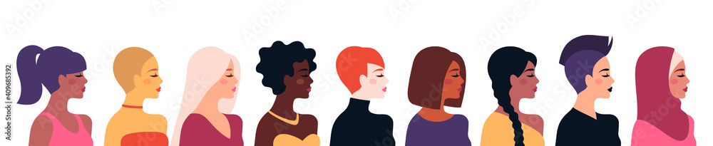 Fototapeta Female diverse faces, different ethnicity and hairstyle. Vector illustration, banner or poster. Woman empowerment movement. Happy International Women's day. Indian, african girls, muslim in hijab
