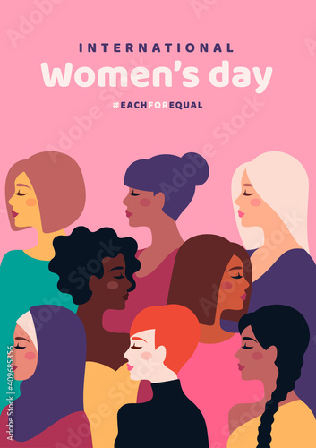 Happy International Women's Day. Vector illustration. Woman different cultures. Freedom, independence, equality struggle poster template design. Girl nationalities, faces profile various hair Fototapete