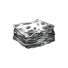 Hand Drawn Sketch Of Lasagna On A White Background. Italian Cuisine, Italian Food. Food And Meal.