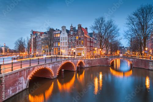 Obraz na plátne Amsterdam, Netherlands Bridges and Canals