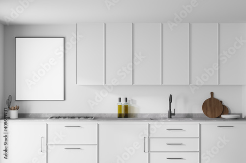Modern kitchen interior with white walls, modern countertops with a built in sink and a cooker Poster Mural XXL