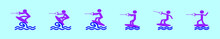 Set Of Wake Boarding Cartoon Icon Design Template With Various Models. Vector Illustration Isolated On Blue Background