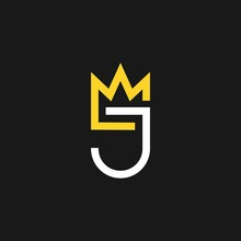 Simple Letter J Crown King Queen Vector Logo Template