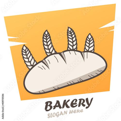 Valokuvatapetti Brot mit Weizen - Bäckerei - Logo, Zeichen