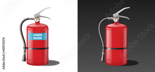 Fotografie, Obraz Carbon dioxide fire extinguisher, red realistic template mockup isolated