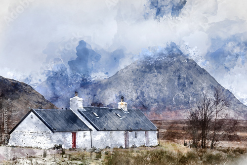 Digital watercolor image of Stunning majestic landscape image of Buachaille Etive Mor and River Etive in Scottish Highlands on a Winter morning with moody sky and lighting © veneratio