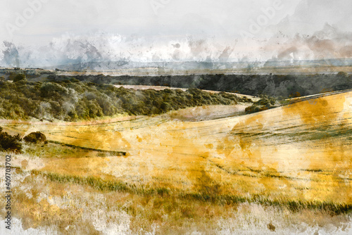 Digital watercolor painting of Beautiful lnadsape image of field of barley crop at sunset in English countryside with dramatic sky © veneratio