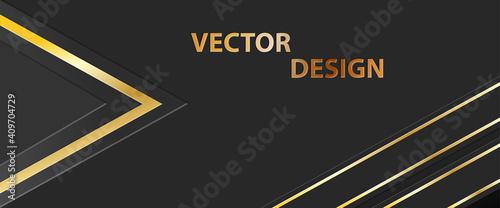 Fotografie, Tablou Abstract golden banner, Dark background for text, message, banner, business card