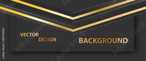Papel de parede Abstract golden banner, Dark background for text, message, banner, business card
