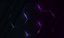Dark Hexagon Gaming Abstract Vector Background With Blue And Pink Colored Bright Flashes.