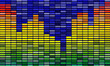 color equalizer bar with dark background. sound concept with mosaic backdrop.