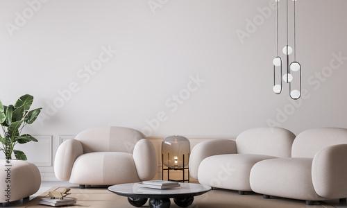 Fototapeta White living room in modern design, minimal clear space on empty bright background, 3d render obraz