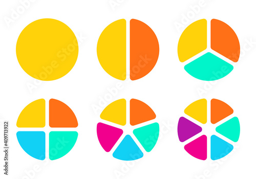 Pie chart set with 1,2,3,4,5,6 sections or steps. Circular chart, graph or diagram. Circle infographic design. Vector illustration.