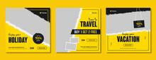 Travel & Tourism Social Media Post Template Design. Summer Holiday Offer Promotion & Marketing Flyer For Online Business. Travel Sale Digital Web Banner With Logo & Graphic Background.