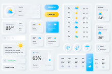 User Interface Elements For Weather Forecast Mobile App. Unique Neumorphic Design UI, UX, GUI, KIT Elements Template. Neumorphism Style. Different Form, Components, Button, Menu, Weather Vector Icons.