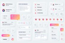 User Interface Elements For Social Network Mobile App. Unique Neumorphic Design UI, UX, GUI, KIT Elements Template. Neumorphism Style. Different Form, Components, Button, Menu, Media Vector Icons.