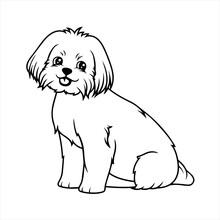Pretty Puppy Dog Coloring Page Design For Kids Children Preschool Stock Vector Style Illustration