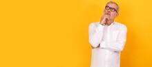 Isolated Senior Adult Man With Glasses Thinking