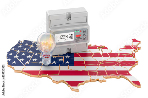 Tablou Canvas Electric energy consumption in the United States, 3D rendering